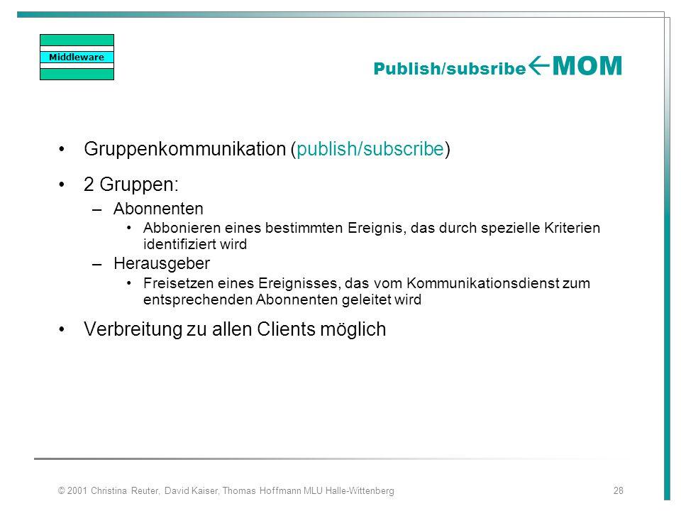 © 2001 Christina Reuter, David Kaiser, Thomas Hoffmann MLU Halle-Wittenberg28 Publish/subsribe  MOM Gruppenkommunikation (publish/subscribe) 2 Gruppe