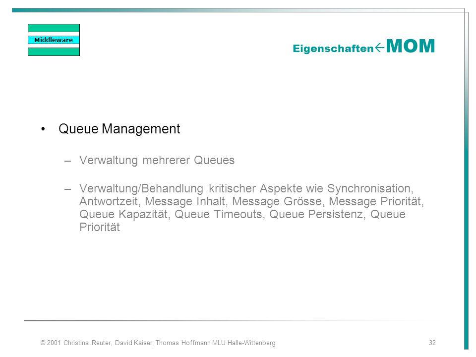 © 2001 Christina Reuter, David Kaiser, Thomas Hoffmann MLU Halle-Wittenberg32 Eigenschaften  MOM Queue Management –Verwaltung mehrerer Queues –Verwal