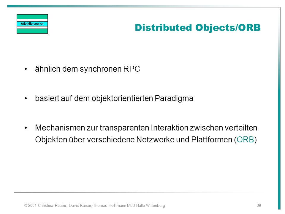© 2001 Christina Reuter, David Kaiser, Thomas Hoffmann MLU Halle-Wittenberg39 Distributed Objects/ORB ähnlich dem synchronen RPC basiert auf dem objek