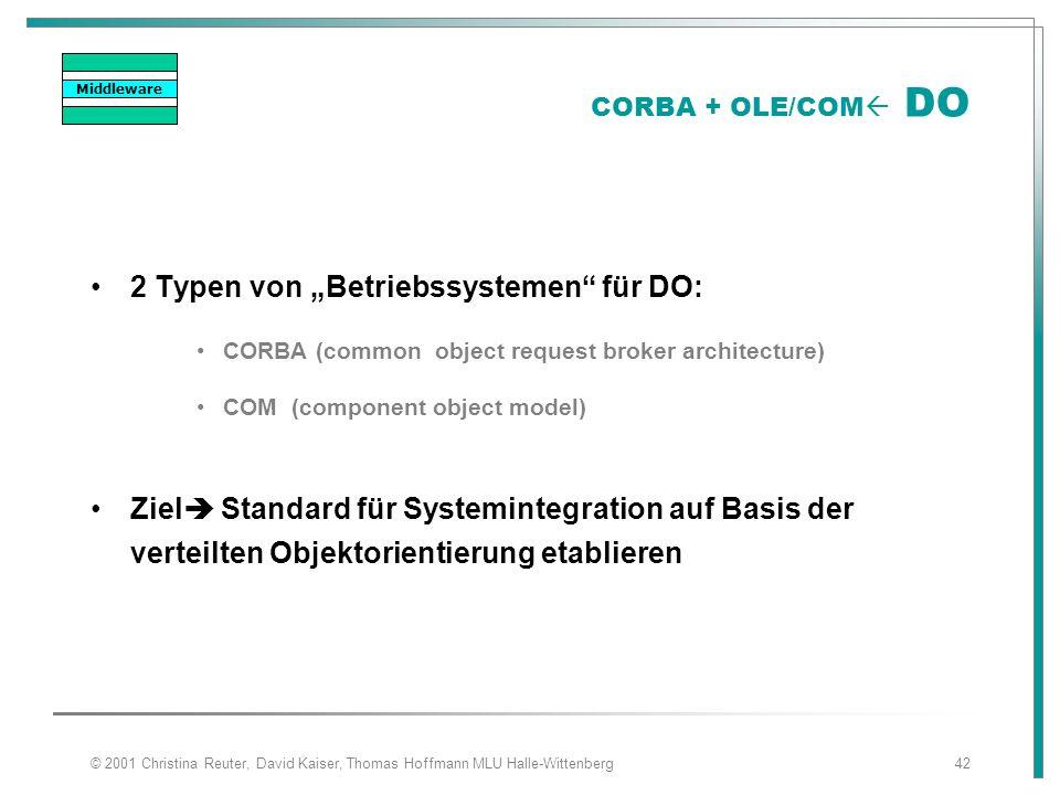 """© 2001 Christina Reuter, David Kaiser, Thomas Hoffmann MLU Halle-Wittenberg42 CORBA + OLE/COM  DO 2 Typen von """"Betriebssystemen"""" für DO: CORBA (commo"""