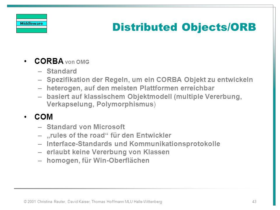 © 2001 Christina Reuter, David Kaiser, Thomas Hoffmann MLU Halle-Wittenberg43 Distributed Objects/ORB CORBA von OMG –Standard –Spezifikation der Regel