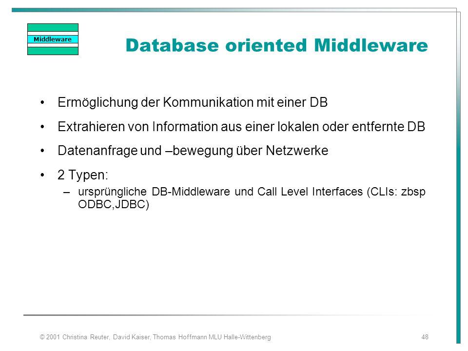 © 2001 Christina Reuter, David Kaiser, Thomas Hoffmann MLU Halle-Wittenberg48 Database oriented Middleware Ermöglichung der Kommunikation mit einer DB