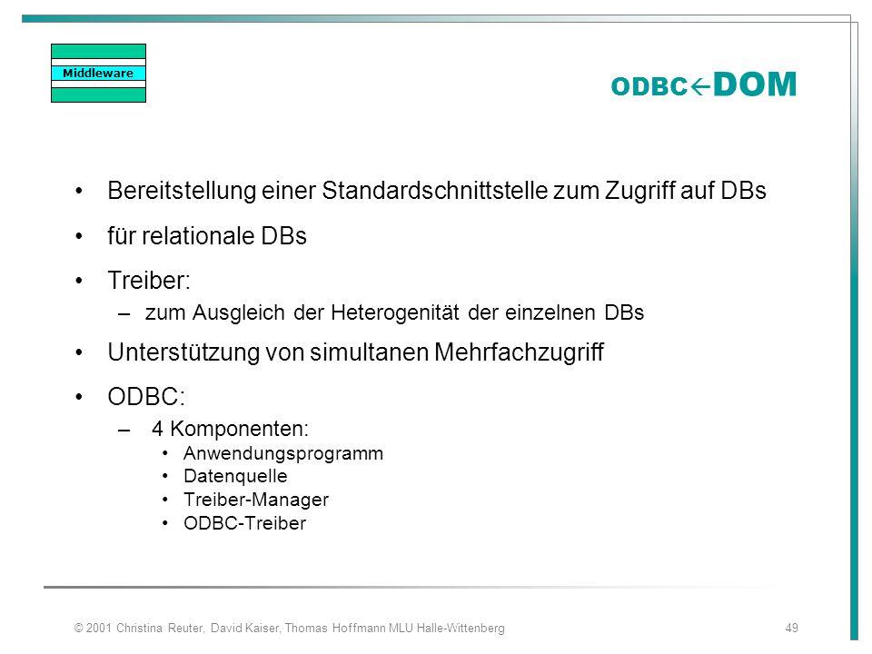 © 2001 Christina Reuter, David Kaiser, Thomas Hoffmann MLU Halle-Wittenberg49 ODBC  DOM Bereitstellung einer Standardschnittstelle zum Zugriff auf DB