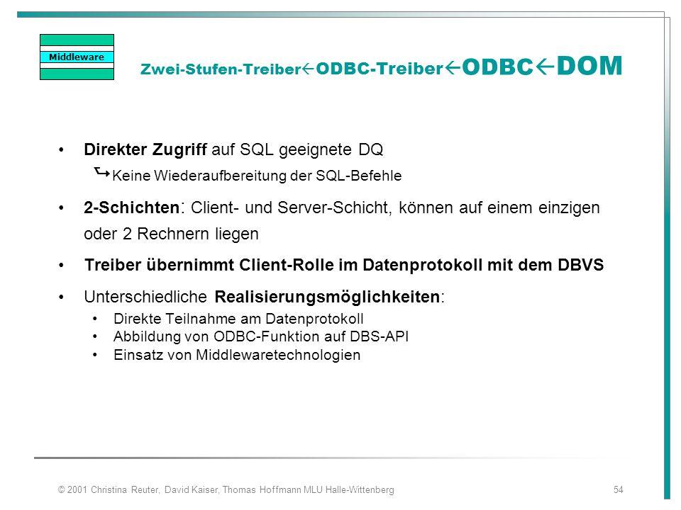 © 2001 Christina Reuter, David Kaiser, Thomas Hoffmann MLU Halle-Wittenberg54 Zwei-Stufen-Treiber  ODBC-Treiber  ODBC  DOM Direkter Zugriff auf SQL