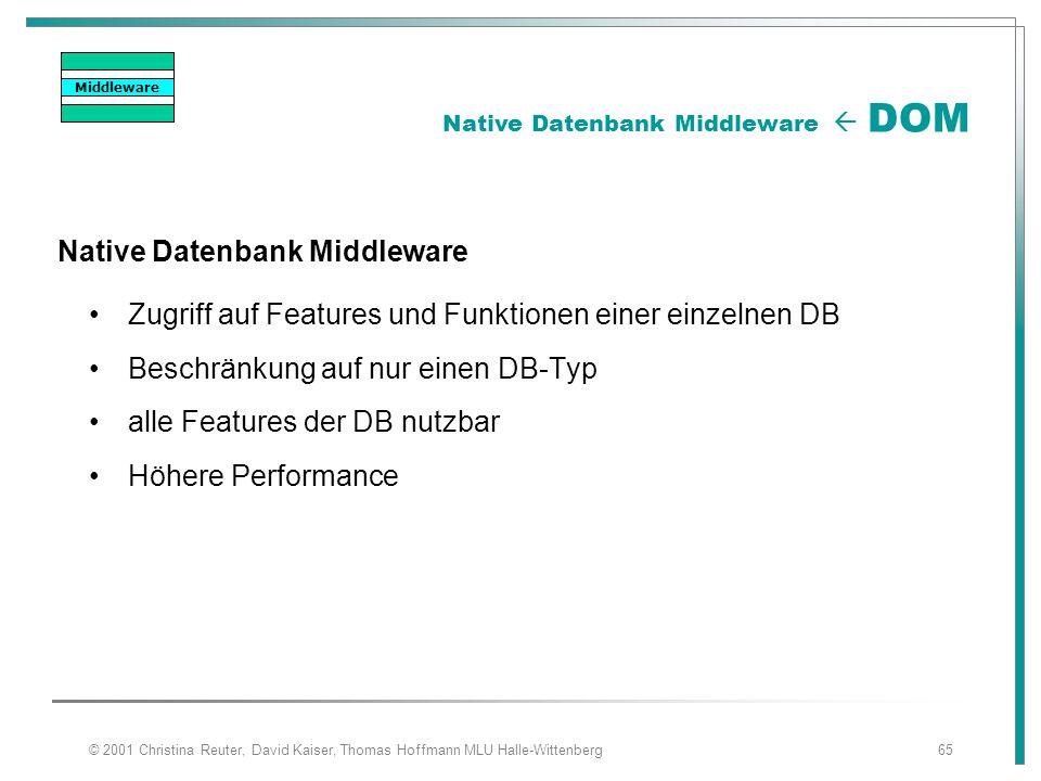 © 2001 Christina Reuter, David Kaiser, Thomas Hoffmann MLU Halle-Wittenberg65 Native Datenbank Middleware Zugriff auf Features und Funktionen einer ei