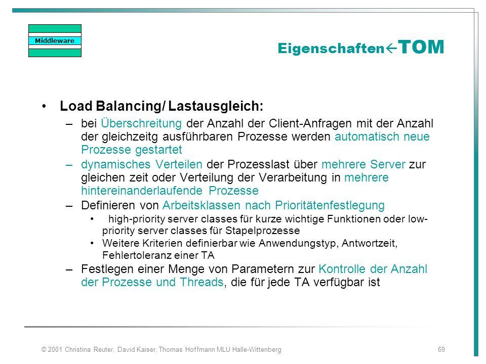 © 2001 Christina Reuter, David Kaiser, Thomas Hoffmann MLU Halle-Wittenberg69 Eigenschaften  TOM Load Balancing/ Lastausgleich: –bei Überschreitung d