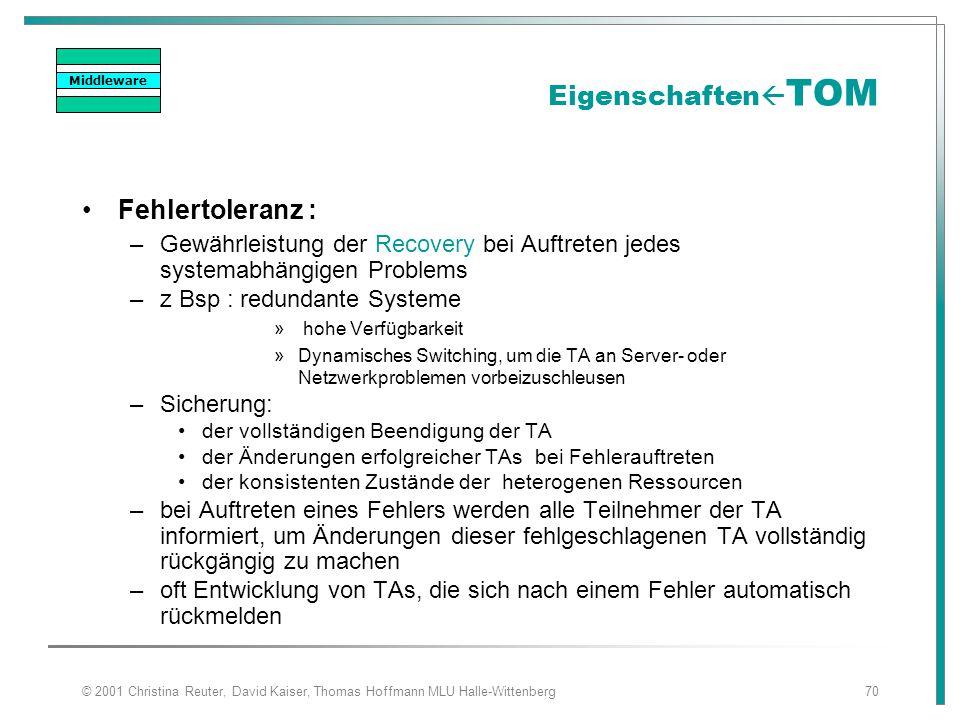 © 2001 Christina Reuter, David Kaiser, Thomas Hoffmann MLU Halle-Wittenberg70 Eigenschaften  TOM Fehlertoleranz : –Gewährleistung der Recovery bei Au