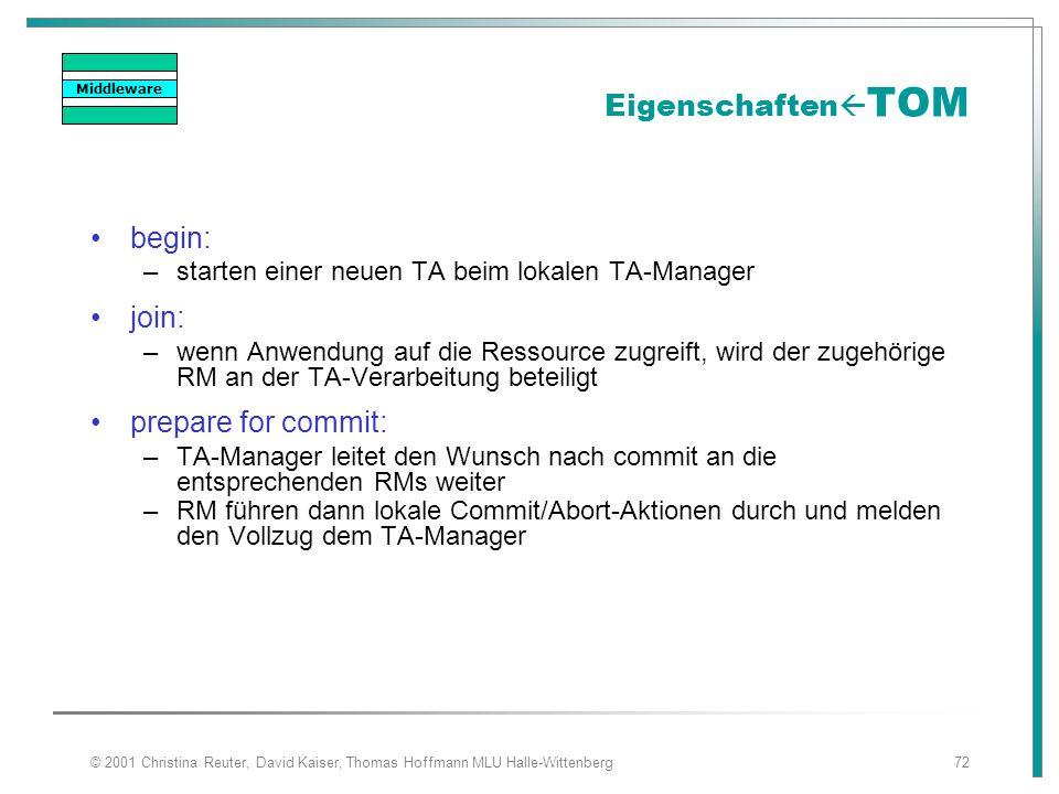 © 2001 Christina Reuter, David Kaiser, Thomas Hoffmann MLU Halle-Wittenberg72 Eigenschaften  TOM begin: –starten einer neuen TA beim lokalen TA-Manag
