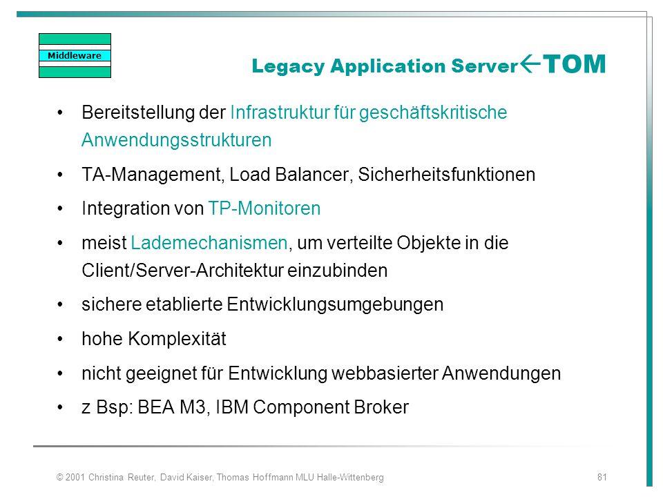 © 2001 Christina Reuter, David Kaiser, Thomas Hoffmann MLU Halle-Wittenberg81 Legacy Application Server  TOM Bereitstellung der Infrastruktur für ges