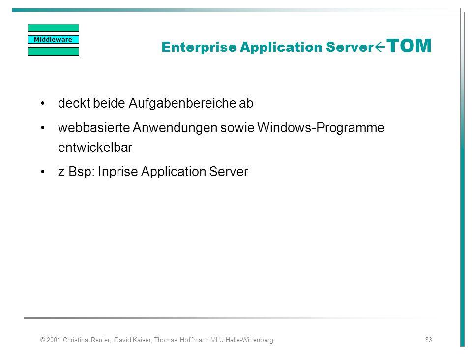 © 2001 Christina Reuter, David Kaiser, Thomas Hoffmann MLU Halle-Wittenberg83 Enterprise Application Server  TOM deckt beide Aufgabenbereiche ab webb