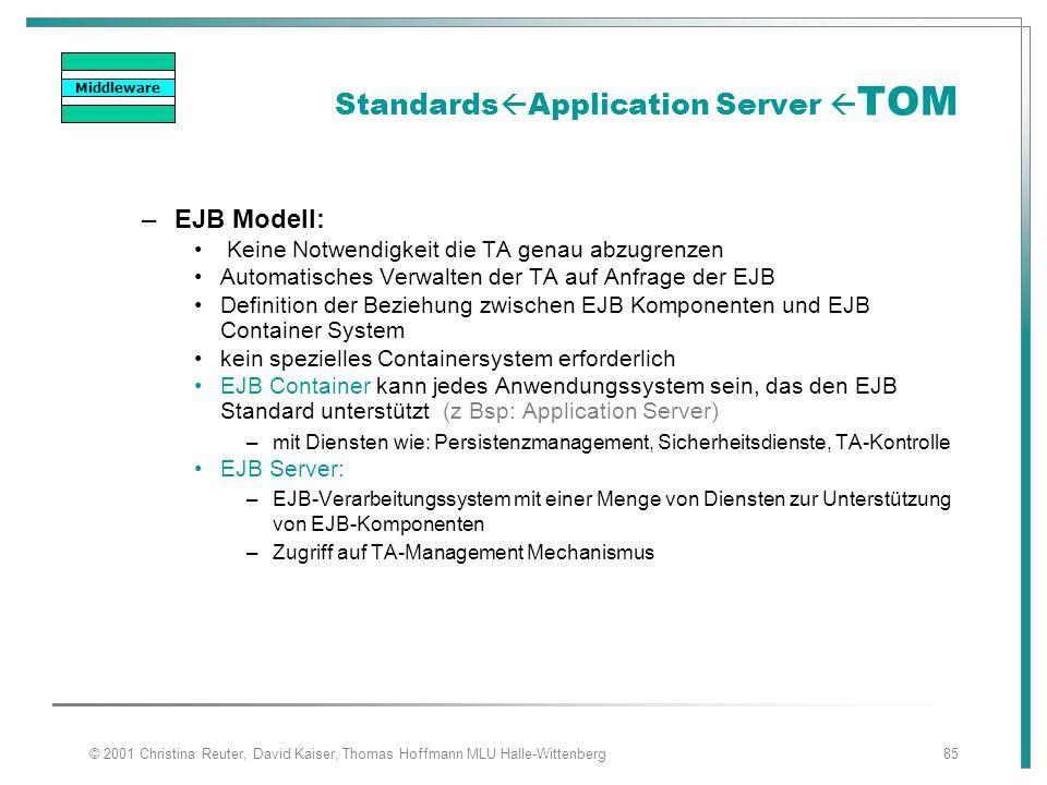 © 2001 Christina Reuter, David Kaiser, Thomas Hoffmann MLU Halle-Wittenberg85 Standards  Application Server  TOM –EJB Modell: Keine Notwendigkeit di
