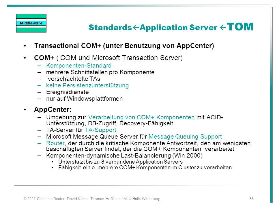 © 2001 Christina Reuter, David Kaiser, Thomas Hoffmann MLU Halle-Wittenberg86 Standards  Application Server  TOM Transactional COM+ (unter Benutzung