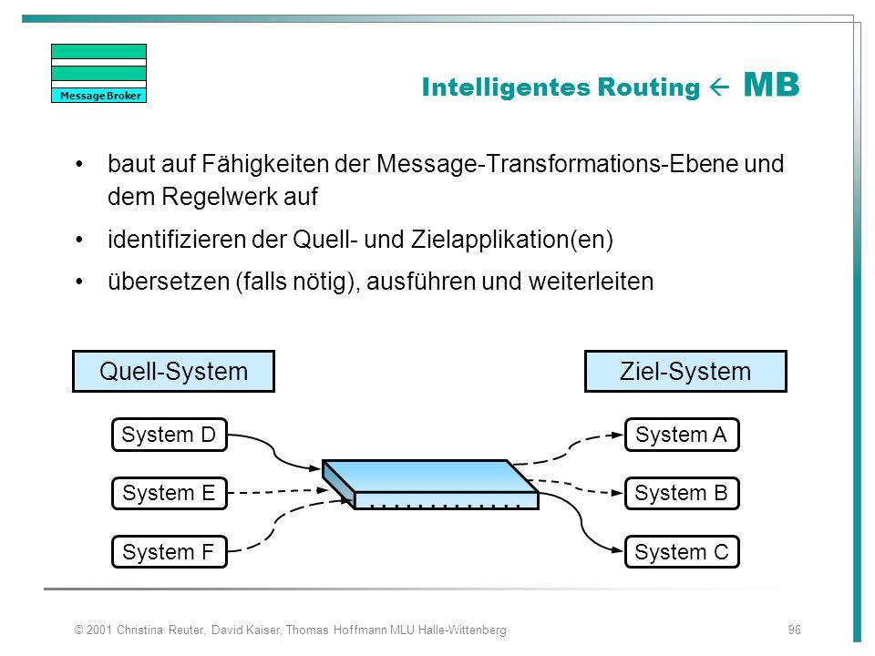 © 2001 Christina Reuter, David Kaiser, Thomas Hoffmann MLU Halle-Wittenberg96 Intelligentes Routing  MB baut auf Fähigkeiten der Message-Transformati
