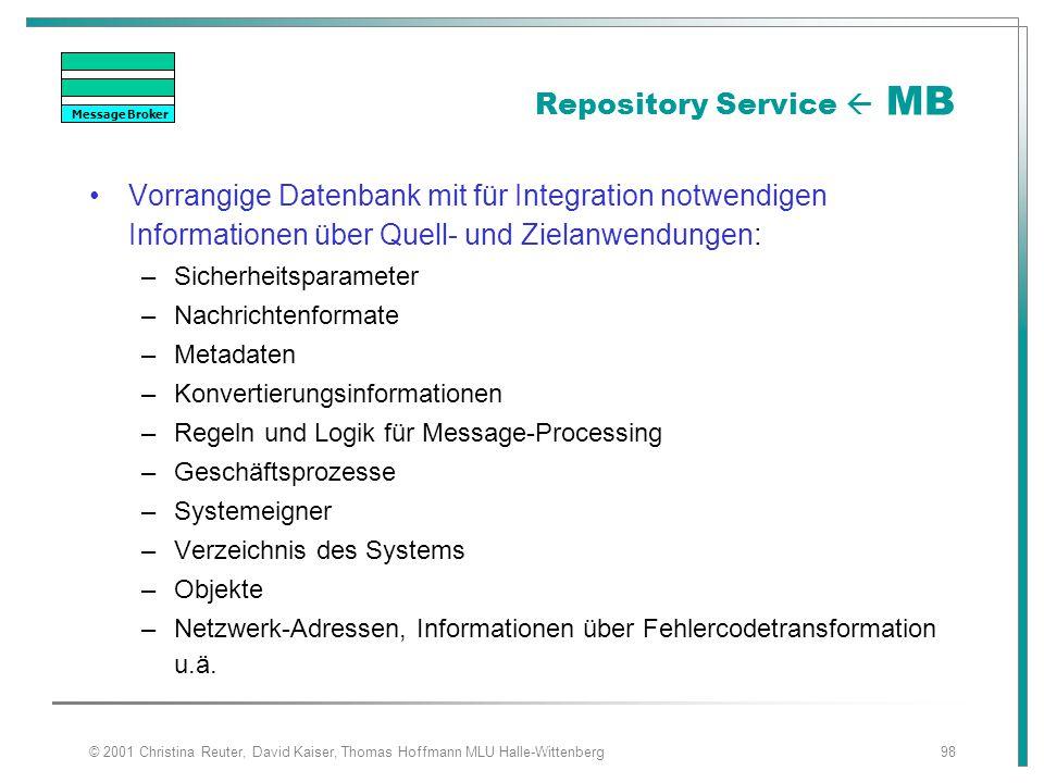 © 2001 Christina Reuter, David Kaiser, Thomas Hoffmann MLU Halle-Wittenberg98 Repository Service  MB Vorrangige Datenbank mit für Integration notwend