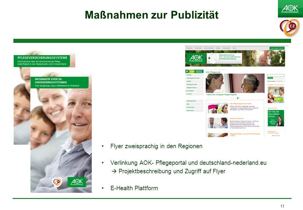 Maßnahmen zur Publizität Flyer zweisprachig in den Regionen Verlinkung AOK- Pflegeportal und deutschland-nederland.eu  Projektbeschreibung und Zugriff auf Flyer E-Health Plattform 11