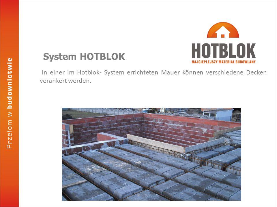 In einer im Hotblok- System errichteten Mauer können verschiedene Decken verankert werden.