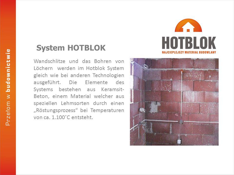 Wandschlitze und das Bohren von Löchern werden im Hotblok System gleich wie bei anderen Technologien ausgeführt.