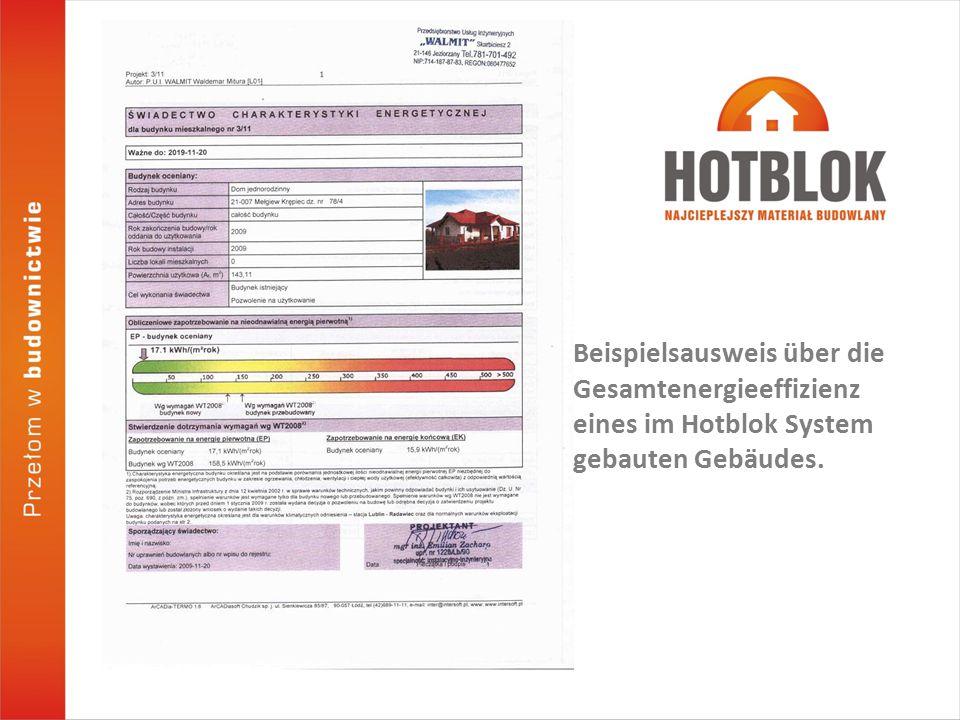 Beispielsausweis über die Gesamtenergieeffizienz eines im Hotblok System gebauten Gebäudes.