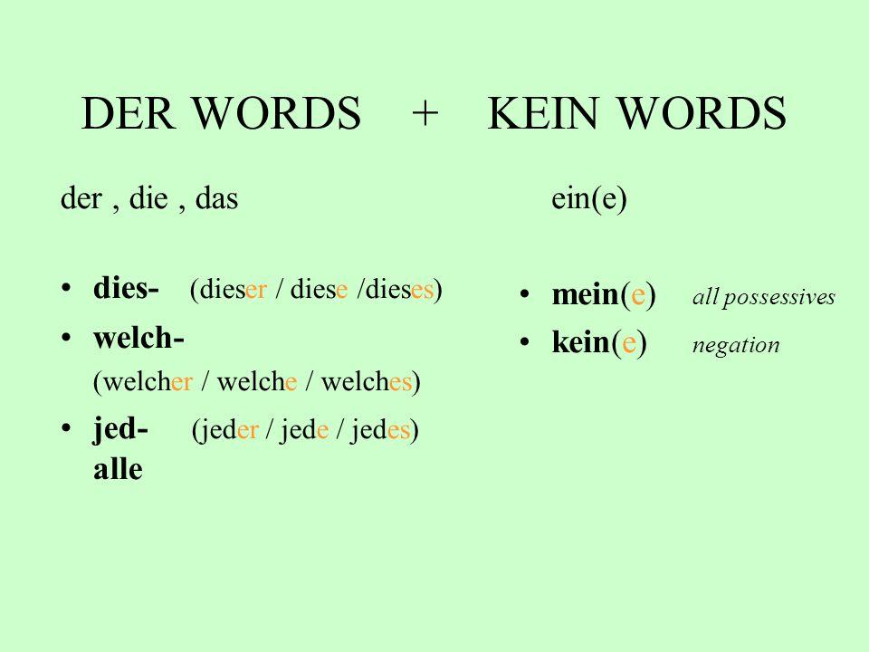 DER WORDS + KEIN WORDS der, die, das dies- (dieser / diese /dieses) welch- (welcher / welche / welches) jed- (jeder / jede / jedes) alle ein(e) mein(e) all possessives kein(e) negation