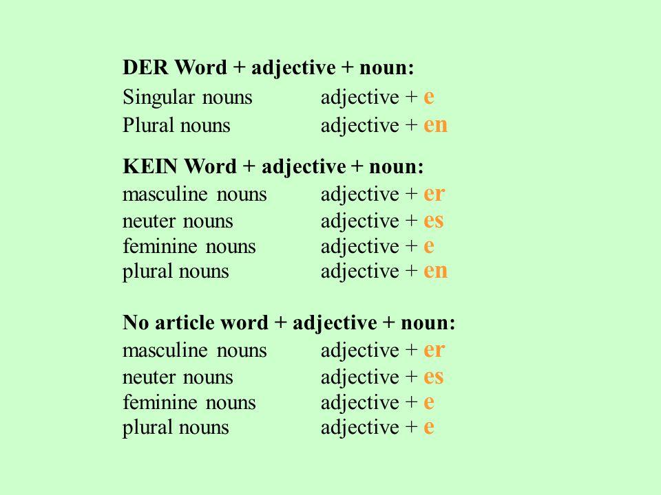 DER Word + adjective + noun: Singular nounsadjective + e Plural nounsadjective + en KEIN Word + adjective + noun: masculine nounsadjective + er neuter nounsadjective + es feminine nounsadjective + e plural nounsadjective + en No article word + adjective + noun: masculine nounsadjective + er neuter nounsadjective + es feminine nounsadjective + e plural nounsadjective + e