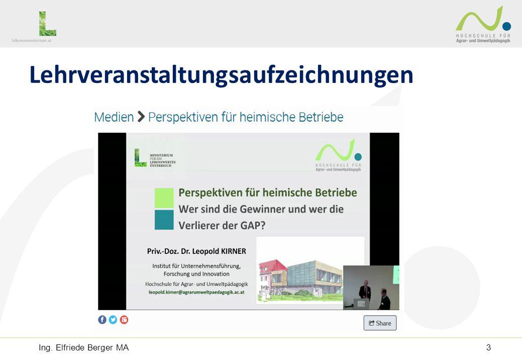 Nicht öffentlich - Ausbildung: Lehrveranstaltungsaufzeichnungen Ing. Elfriede Berger MA3