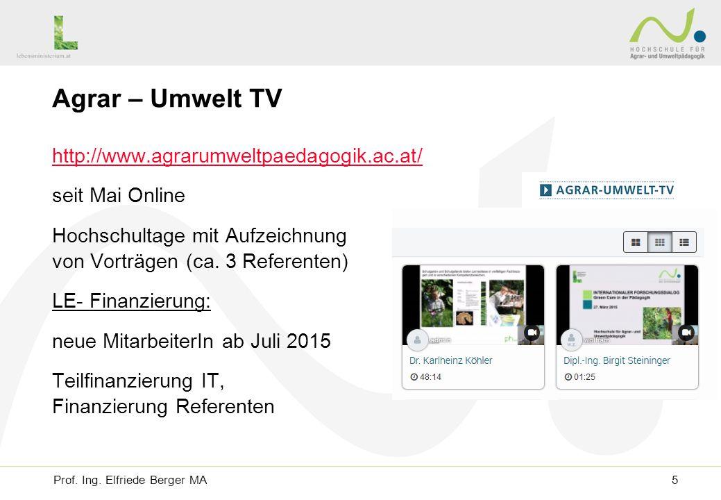 Agrar – Umwelt TV http://www.agrarumweltpaedagogik.ac.at/ seit Mai Online Hochschultage mit Aufzeichnung von Vorträgen (ca.
