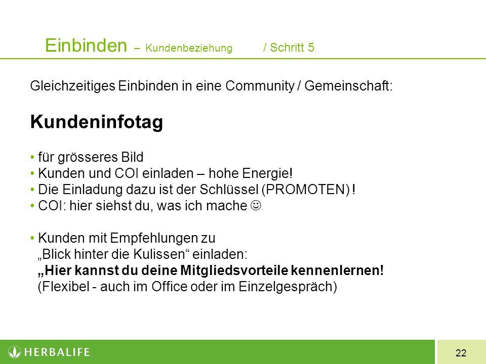 22 Gleichzeitiges Einbinden in eine Community / Gemeinschaft: Kundeninfotag für grösseres Bild Kunden und COI einladen – hohe Energie! Die Einladung d