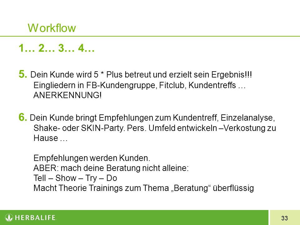 33 Workflow 1… 2… 3… 4… 5. Dein Kunde wird 5 * Plus betreut und erzielt sein Ergebnis!!! Eingliedern in FB-Kundengruppe, Fitclub, Kundentreffs … ANERK