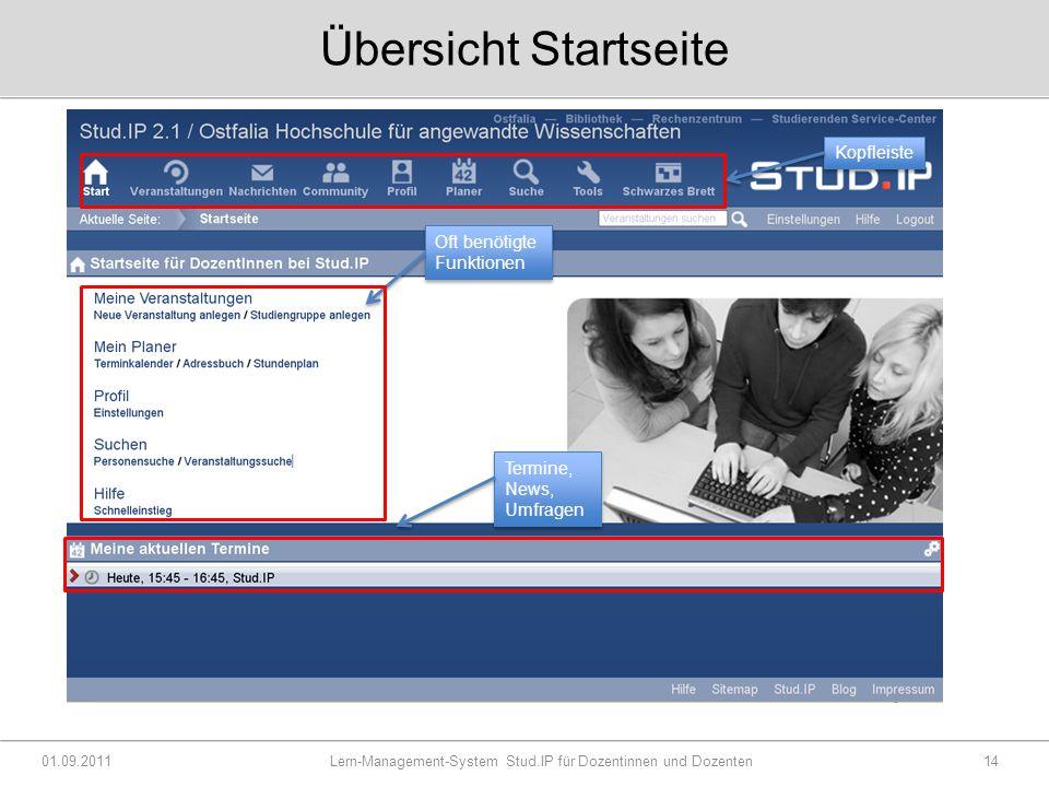 Übersicht Startseite 01.09.2011 Lern-Management-System Stud.IP für Dozentinnen und Dozenten14 Kopfleiste Oft benötigte Funktionen Termine, News, Umfragen
