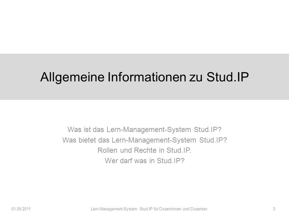 Allgemeine Informationen zu Stud.IP Was ist das Lern-Management-System Stud.IP.