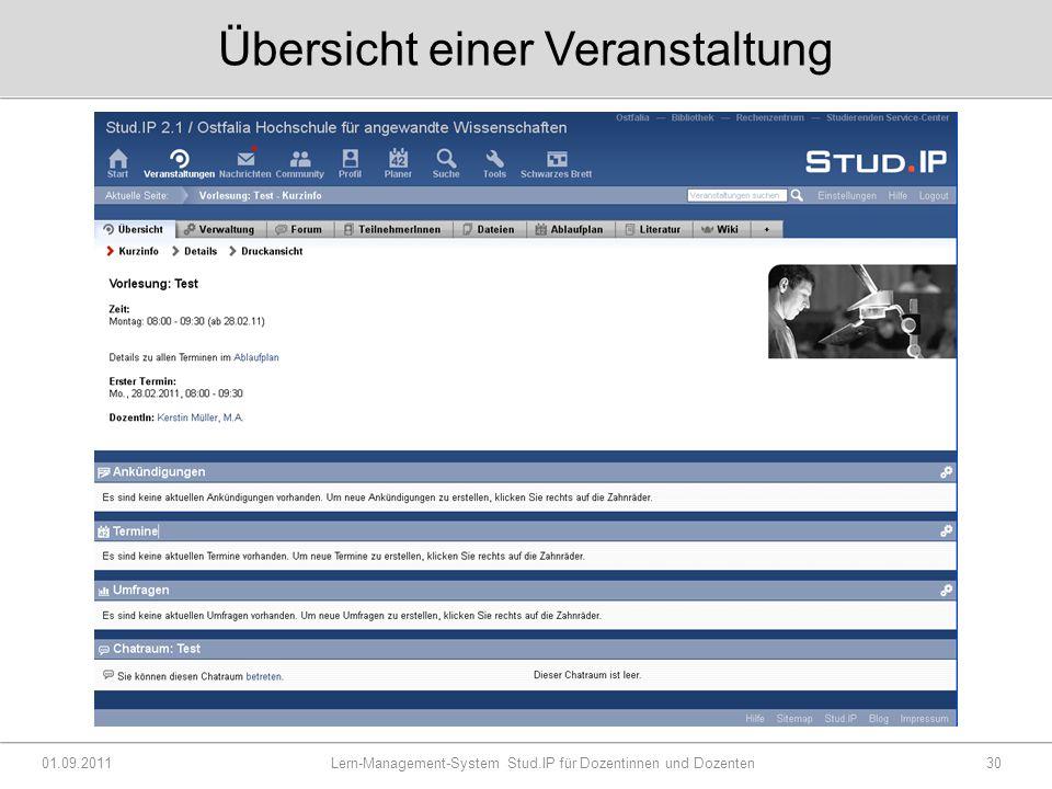Übersicht einer Veranstaltung 01.09.2011 Lern-Management-System Stud.IP für Dozentinnen und Dozenten30