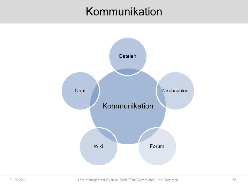 Kommunikation 01.09.2011 Lern-Management-System Stud.IP für Dozentinnen und Dozenten58 Kommunikation DateienNachrichtenForumWikiChat