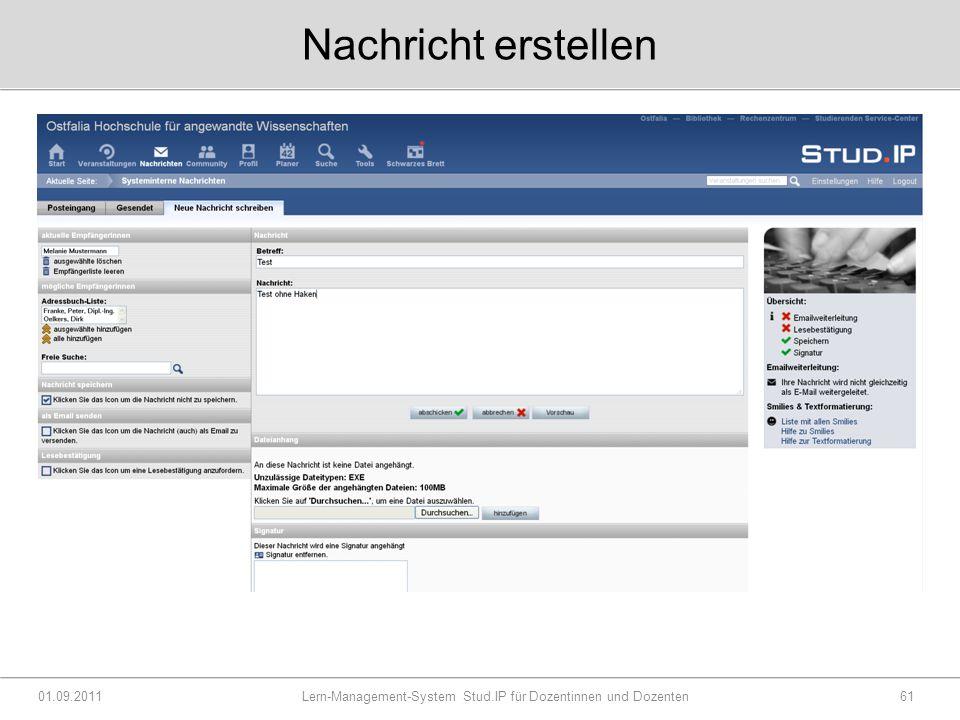 Nachricht erstellen 01.09.2011 Lern-Management-System Stud.IP für Dozentinnen und Dozenten61