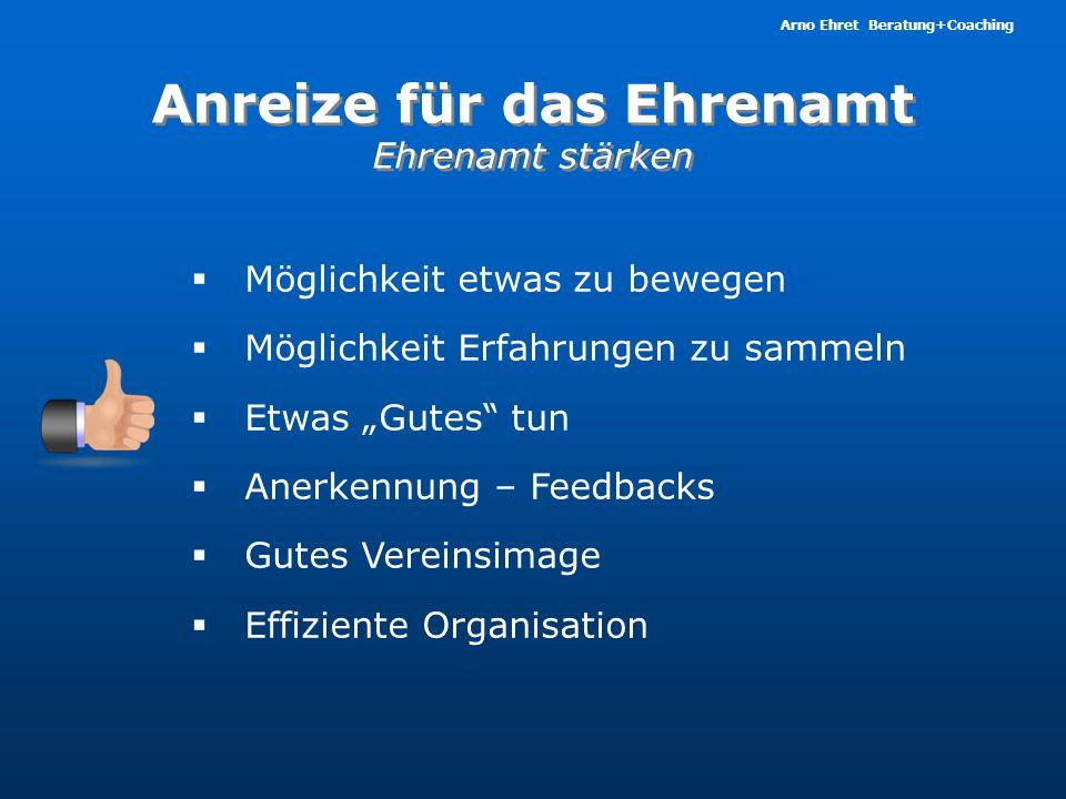 Arno Ehret Beratung+Coaching Anreize für das Ehrenamt Ehrenamt stärken Anreize für das Ehrenamt Ehrenamt stärken  Möglichkeit etwas zu bewegen  Mögl