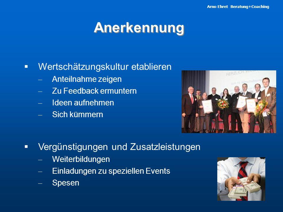 Arno Ehret Beratung+Coaching Anerkennung  Wertschätzungskultur etablieren  Anteilnahme zeigen  Zu Feedback ermuntern  Ideen aufnehmen  Sich kümmern  Vergünstigungen und Zusatzleistungen  Weiterbildungen  Einladungen zu speziellen Events  Spesen