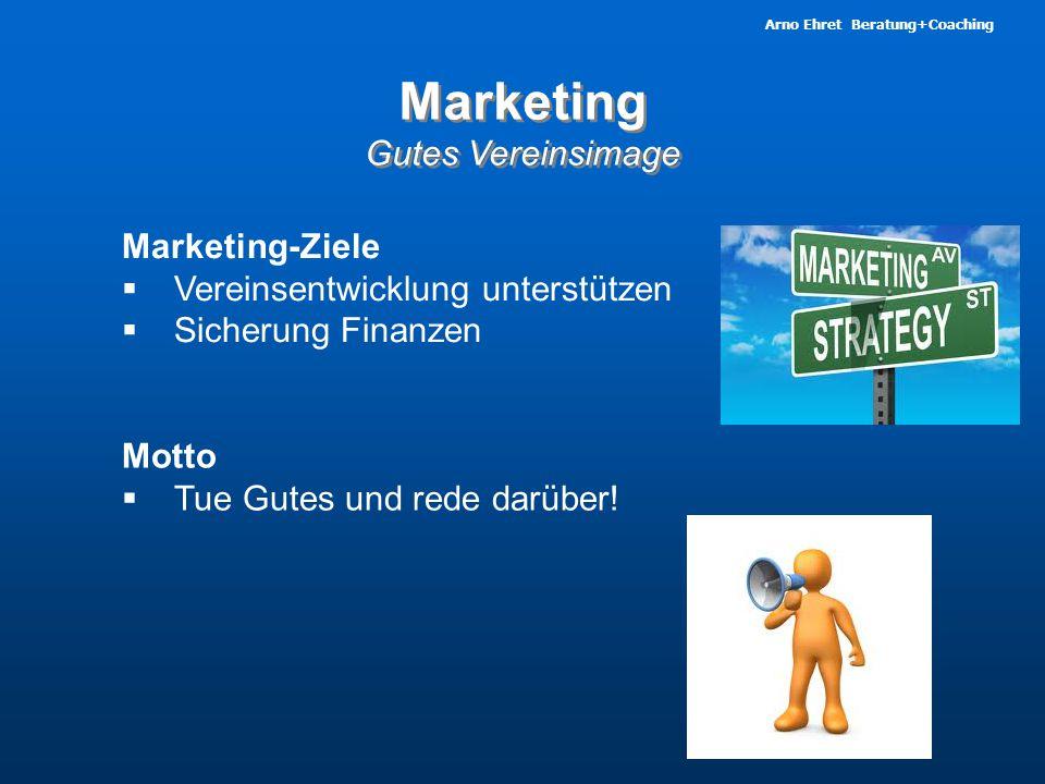Arno Ehret Beratung+Coaching Marketing Gutes Vereinsimage Marketing Gutes Vereinsimage Motto  Tue Gutes und rede darüber! Marketing-Ziele  Vereinsen