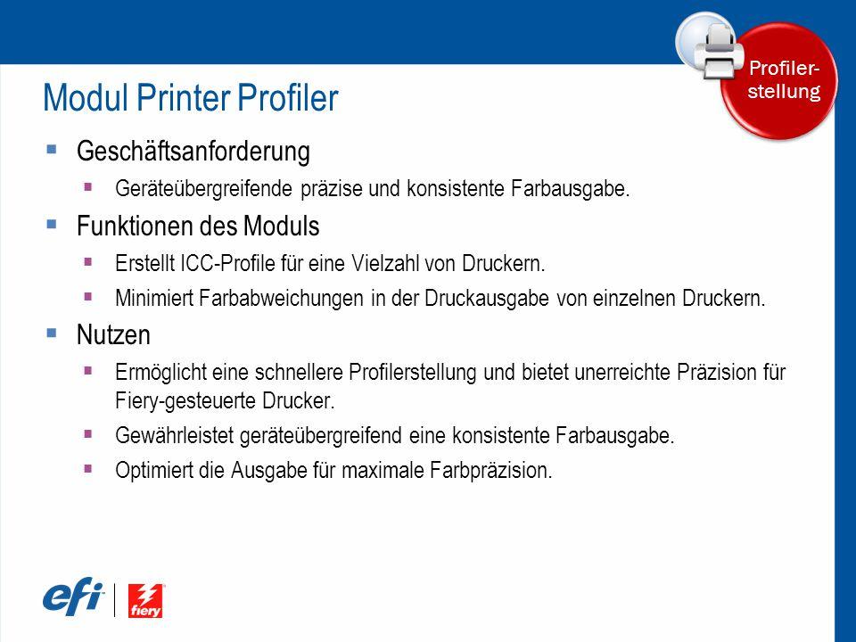 Modul Printer Profiler  Geschäftsanforderung  Geräteübergreifende präzise und konsistente Farbausgabe.