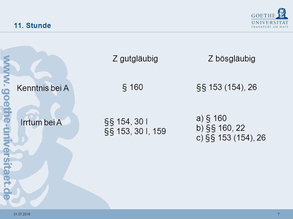 701.07.2015 11. Stunde Z gutgläubigZ bösgläubig Kenntnis bei A Irrtum bei A § 160§§ 153 (154), 26 §§ 154, 30 I §§ 153, 30 I, 159 a) § 160 b) §§ 160, 2
