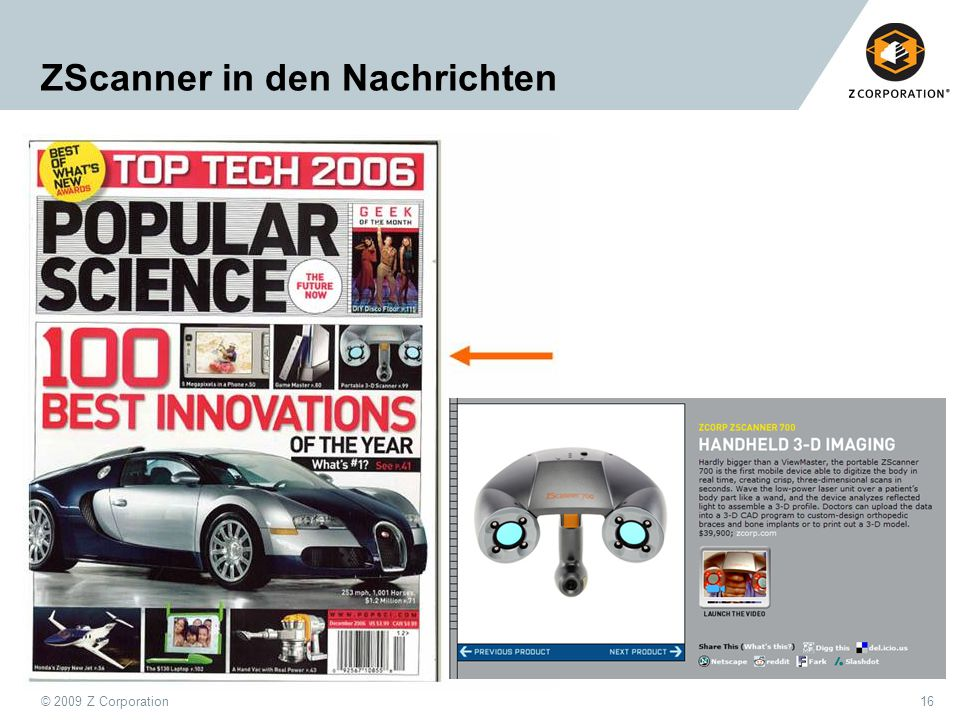 © 2009 Z Corporation16 ZScanner in den Nachrichten