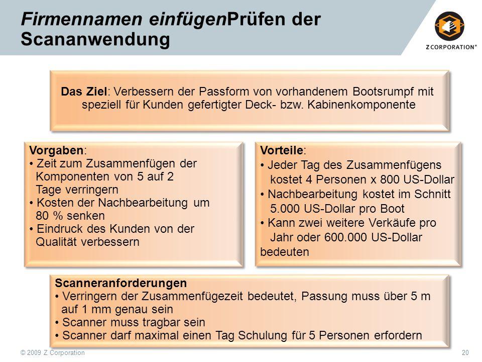 © 2009 Z Corporation20 Firmennamen einfügenPrüfen der Scananwendung Das Ziel: Verbessern der Passform von vorhandenem Bootsrumpf mit speziell für Kund
