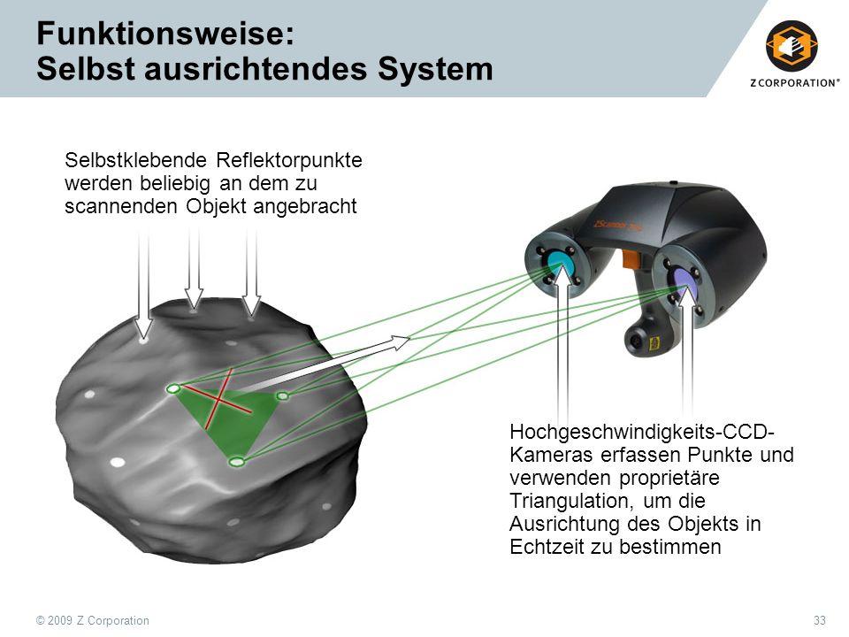 © 2009 Z Corporation33 Funktionsweise: Selbst ausrichtendes System Selbstklebende Reflektorpunkte werden beliebig an dem zu scannenden Objekt angebrac