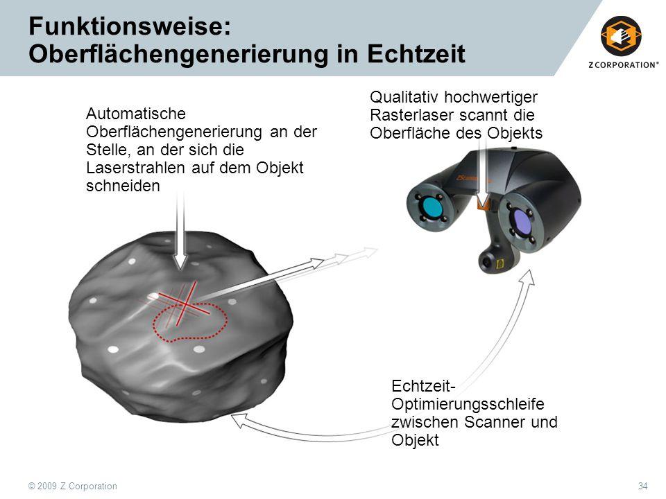 © 2009 Z Corporation34 Funktionsweise: Oberflächengenerierung in Echtzeit Automatische Oberflächengenerierung an der Stelle, an der sich die Laserstra