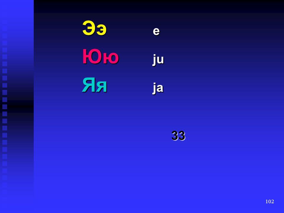 101 Чч č Шш š Щщ š': Ъъ (jer) Ыы (jery) Ьь (jer')