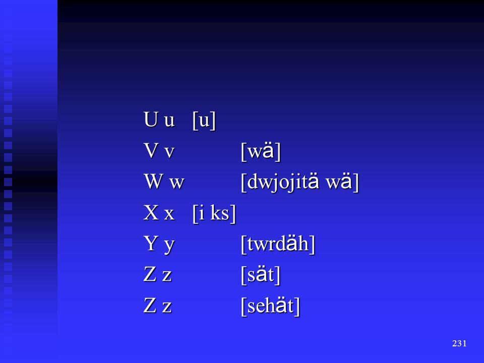 230 Q q [kw ä ] R r [ ä r] R r [reeh ä ] S s [a ß ] S s [ ä sch] T t [t ä ]