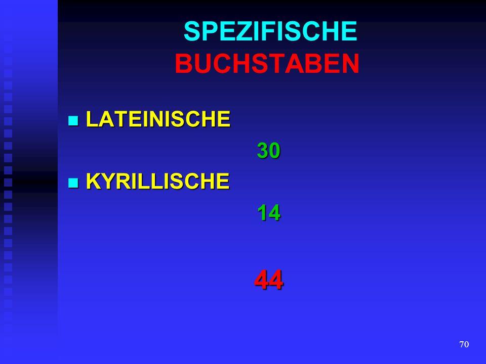 69 ALLGEMEINE BUCHSTABEN LATEINISCHE LATEINISCHE21 KYRILLISCHE KYRILLISCHE2344