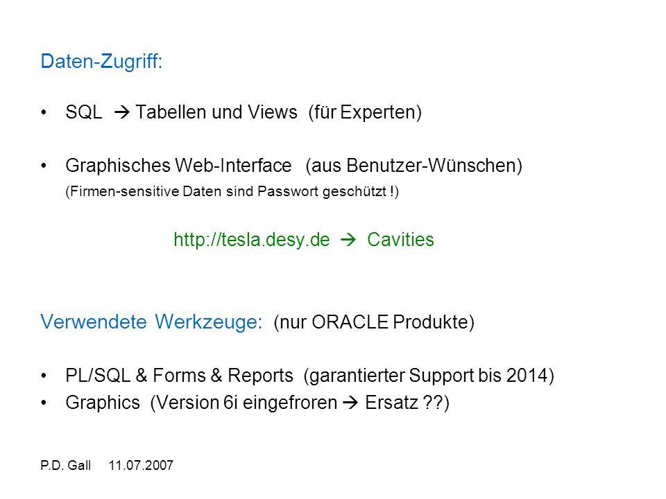 P.D. Gall 11.07.2007 Daten-Zugriff: SQL  Tabellen und Views (für Experten) Graphisches Web-Interface (aus Benutzer-Wünschen) (Firmen-sensitive Daten
