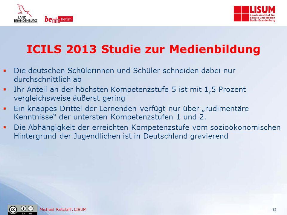 Michael Retzlaff, LISUM 13  Die deutschen Schülerinnen und Schüler schneiden dabei nur durchschnittlich ab  Ihr Anteil an der höchsten Kompetenzstuf