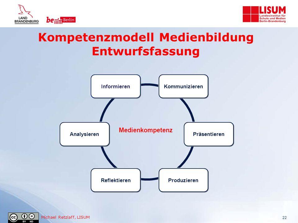 Michael Retzlaff, LISUM Kompetenzmodell Medienbildung Entwurfsfassung 22 Medienkompetenz Informieren Reflektieren Kommunizieren Präsentieren Produzier