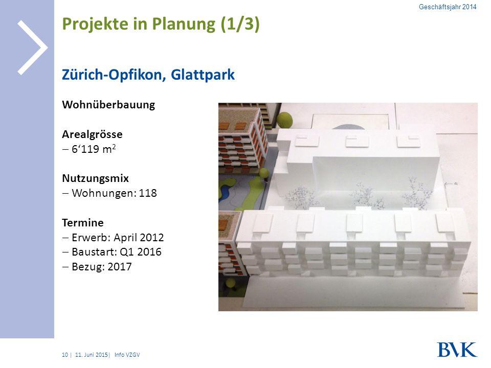 | Zürich-Opfikon, Glattpark Wohnüberbauung Arealgrösse  6'119 m 2 Nutzungsmix  Wohnungen: 118 Termine  Erwerb: April 2012  Baustart: Q1 2016  Bezug: 2017 10 Projekte in Planung (1/3) 11.