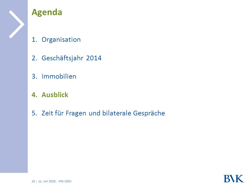 | 1.Organisation 2.Geschäftsjahr 2014 3.Immobilien 4.Ausblick 5.Zeit für Fragen und bilaterale Gespräche Agenda 11.
